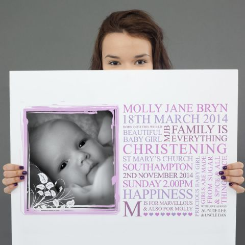 Personalised Baby Christening Art Gift